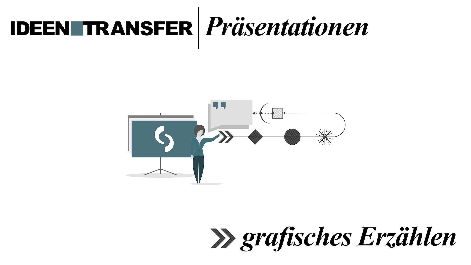 Deckblatt Präsentation zum Thema Grafisches Erzählen mit einer Illustration
