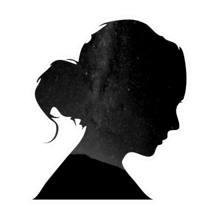 Abbildung Sternenhimmel in Form eines Scherenschnittes einer Frau in schwarz weiß