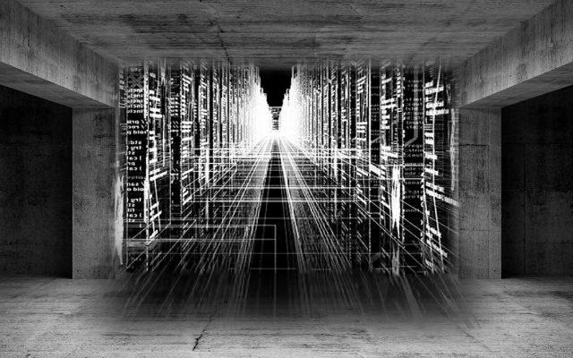 Abstrakte Szenerie in Gemäuer mit Datennetz in schwarz weiß